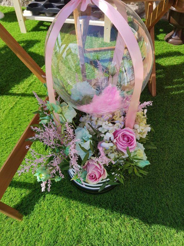 Cutie flori balloon & Pink Roses
